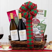 Festive Holiday Wine Gift Basket
