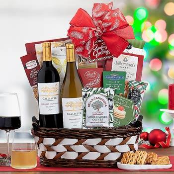 Festive Holiday Wine Gift Basket