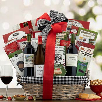 Festive Holiday Wine Basket