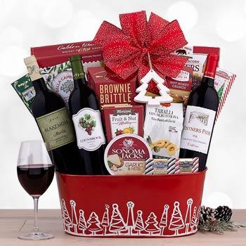 Santa's Wine Trio Christmas Basket