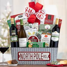 Santas Wine Trio Christmas Basket