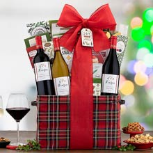 Deluxe Christmas Wine Gift Basket