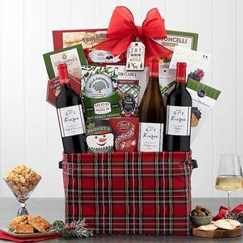 Deluxe Christmas Wine Gift Basket
