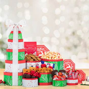 Festive Holiday Gift Tower