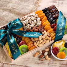 With Sympathy Nuts and Dried Fruit Tray