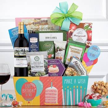 Gourmet Birthday Wine Basket