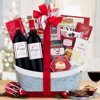 Festive Wine Gift Basket