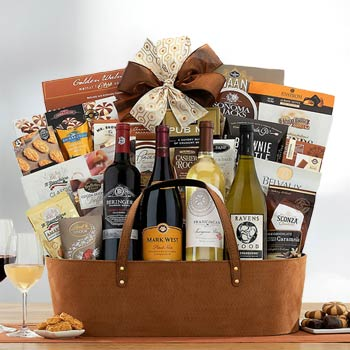Red and White Wine Gift Basket