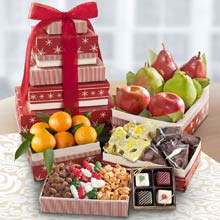 Holiday Fruit and Nut Gift Tower