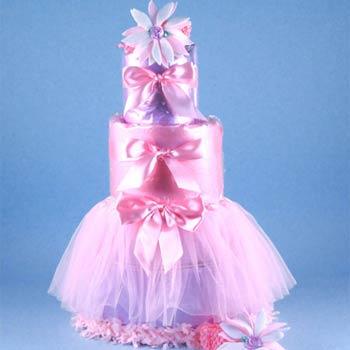 Pink Ballerina Diaper Cake
