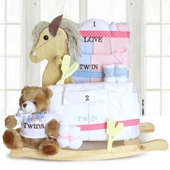 Twin Baby Rocking Horse Gift Basket