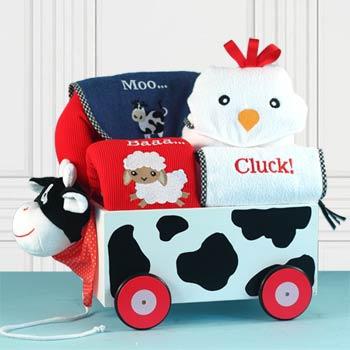 Baby Boy Barnyard Wagon