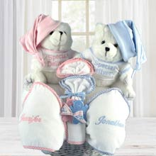Personalized Twins Teddy Bear Gift Basket