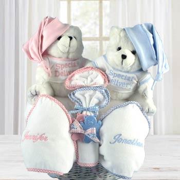 Personalized Twins Teddy Bear Gift Basket