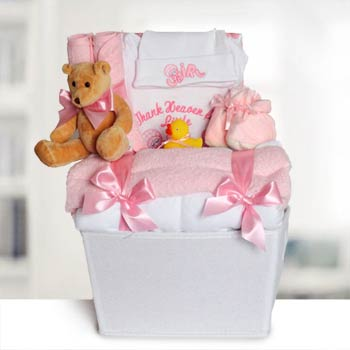 Baby Girl Layette Basket