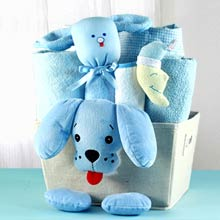 Baby Boy Puppy Basket