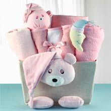 Baby Girl Bear Basket
