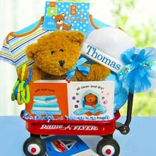 Baby Boy Bear Radio Flyer Wagon