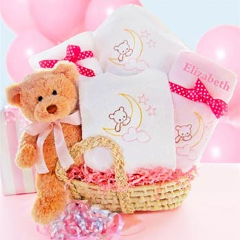 Personalized Elegant Baby Girl Gift Basket