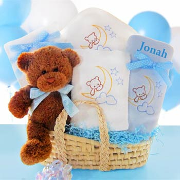 Personalized Elegant Baby Boy Gift Basket