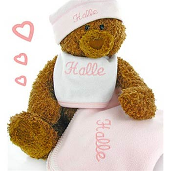 Personalized Baby Girl Bear Gift Box