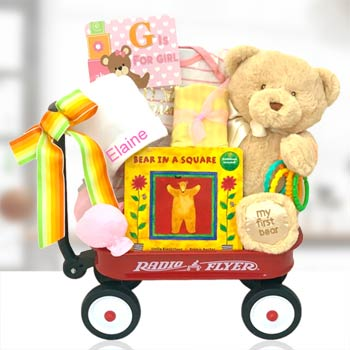 Baby Girl Bear Radio Flyer Wagon