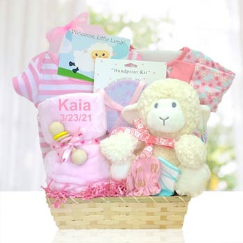 Personalized Baby Girl Lamb Basket
