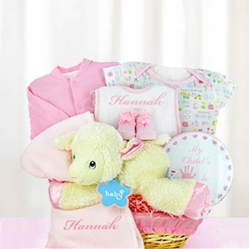 Personalized Baby Girl Lamb Basket