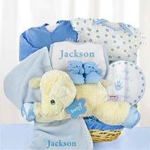 Personalized Baby Boy Lamb Basket