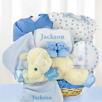 Personalized Baby Boy Lamb Basket