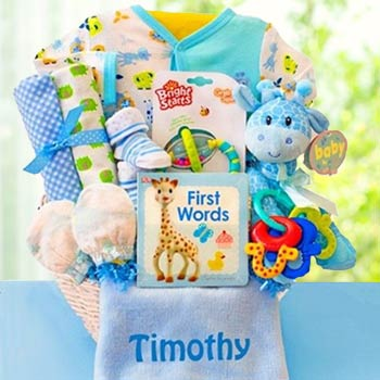 Personalized Baby Boy Safari Basket