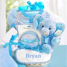 Personalized Blue Minky Dot Gift Basket