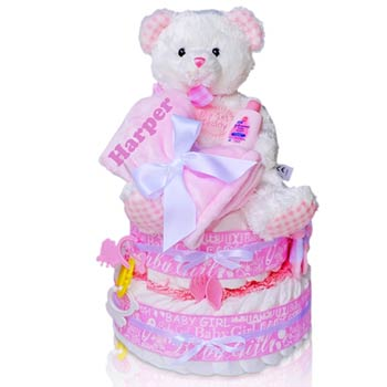 Baby Girl Teddy Bear Diaper Cake