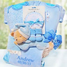 Personalized Nap Time Baby Boy Gift Basket