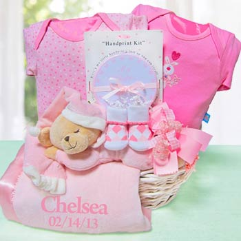 Personalized Nap Time Baby Girl Gift Basket