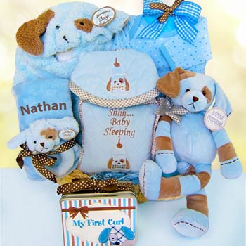 Personalized Puppy Basket for Baby