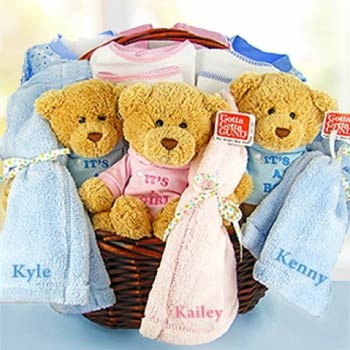 Personalized Triplets Baby Basket