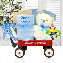 Personalized Baby Boy Teddy Bear Gift Basket