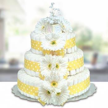 Bloomers Baby Classic Yellow Diaper Cake