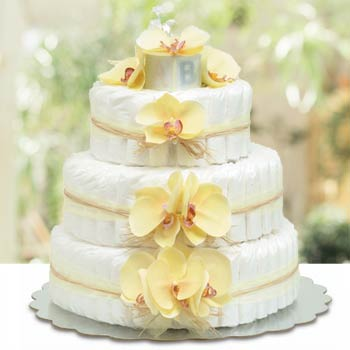 Bloomers Baby Hawaiian Yellow Diaper Cake