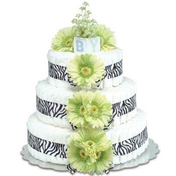 Bloomers Baby Zebra Green Diaper Cake