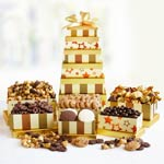 Golden Holiday Gift Tower