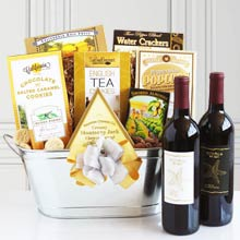 Golden Gourmet Wine Basket