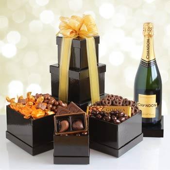 Wine and Godiva Chocolates Gift Tower