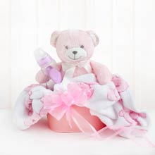 Baby Girl Teddy Bear Basket