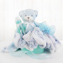 Baby Boy Teddy Bear Basket