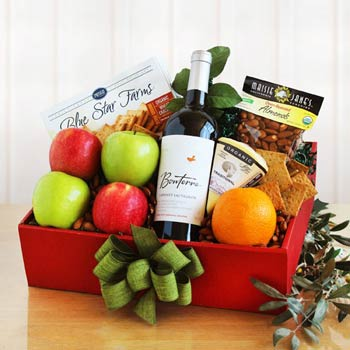 Organic Gourmet Fruit & Wine Gift Box