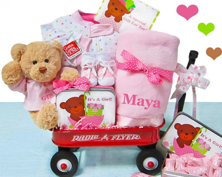 Personalized Baby Girl Wagon Gift Basket - $109.00
